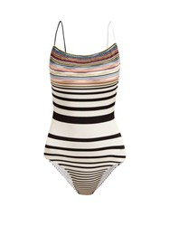 Missoni Mare Striped Intarsia Knit Cross Back Swimsuit White Multi