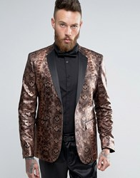 Asos Skinny Blazer In Metallic Snake Print Brown
