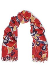 Chan Luu Woman Frayed Floral Print Cashmere And Silk Blend Scarf Red