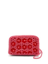 Shrimps Domenica Faux Pearl Embellished Clutch Pink
