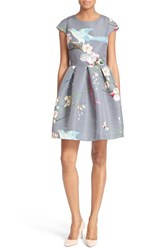 Ted Baker Women's London Zaldana Print Fit And Flare Dress Light Grey
