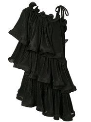 Romance Was Born Bloom Pleat Tiered Dress Black