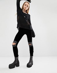Tripp Nyc Velvet Leggings With Cut Out Knees Black