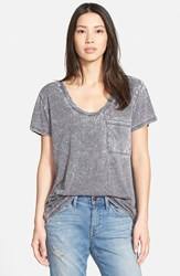 Treasure And Bond Women's One Pocket Burnout Tee Grey Charcoal