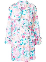 Chanel Vintage Floral Print Trench Coat White
