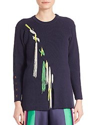 Tanya Taylor Ribbed Beaded Sweater Midnight