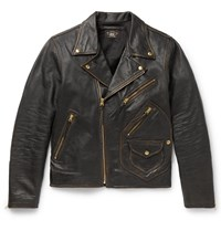Rrl Marshall Leather Biker Jacket Black
