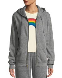 Aviator Nation Bolt Zip Front Graphic Hoodie Gray