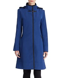Jane Post Back Zip Hooded Coat Blue