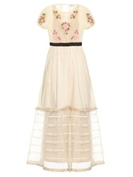 Red Valentino Floral Embroidered Tulle Dress Ivory