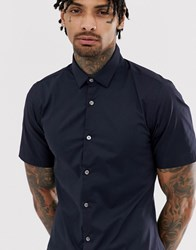 French Connection Plain Stretch Short Sleeve Shirt Navy