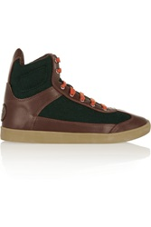 Tory Burch Evelin Leather And Flannel High Top Sneakers