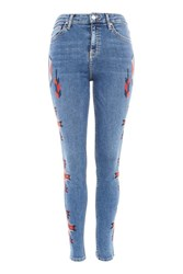 Topshop Moto Embroidered Jamie Jeans Blue