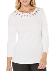 Rafaella Solid Lace Top White