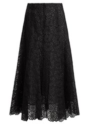 Rebecca Taylor Malorie Floral Lace Embroidered Silk Skirt Black