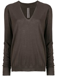 Rick Owens Loose V Neck Jumper Brown