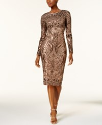 Betsy And Adam Sequined Mesh Bodycon Dress Bronze