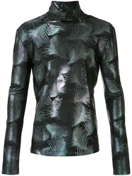 Emiliano Rinaldi Metallic Palms Turtleneck Sweatshirt Black