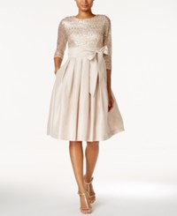 Jessica Howard Sequined Sash Fit And Flare Dress Champagne