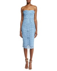 Burberry Fitted Strapless Lace Dress Light Blue