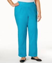 Alfred Dunner Plus Size Scenic Route Collection Straight Leg Pants Turquoise