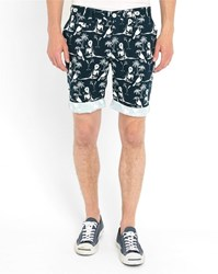 Minimum Navy Castillo Pr Print Shorts Blue