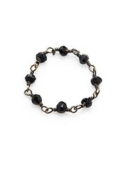 Adornia Black Spinel And Silver Rosary Bead Ring