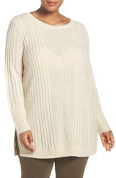 Caslonr Plus Size Women's Caslon Cable Knit Wool Blend Tunic Sweater