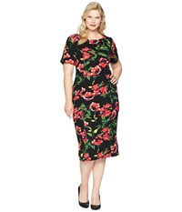 Unique Vintage Plus Size Mod Wiggle Dress Black Red Floral Multi