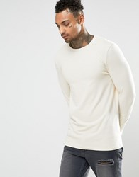 Asos Longline Muscle Long Sleeve T Shirt In Off White Off White Cream