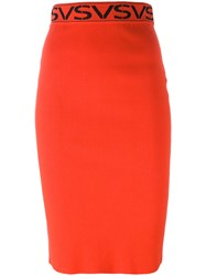 Versus Midi Pencil Skirt Red
