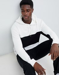 New Look Colourblock Hoodie In White Off White