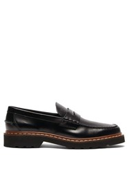 Tod's Logo Debossed Leather Penny Loafers Black