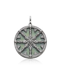 Thomas Sabo Necklaces Blackened Sterling Silver Pendant W White Cubic Zirconia And Green Aventurine