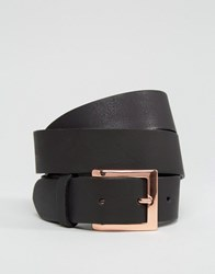 Asos Leather Rose Gold Buckle Waist And Hip Belt Black
