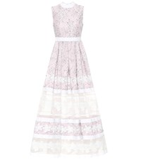 Huishan Zhang Floral Lace Gown Pink