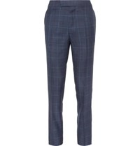 Kingsman Harry's Navy Slim Fit Checked Wool Silk And Linen Blend Suit Trousers