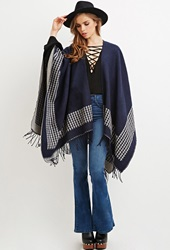 Forever 21 Houndstooth Patterned Shawl Poncho Navy Light Grey