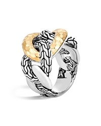 John Hardy 18K Yellow Gold And Sterling Silver Classic Chain Hammered Band Ring Silver Gold