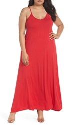 Loveappella Plus Size Women's A Line Maxi Dress Lipstick Red