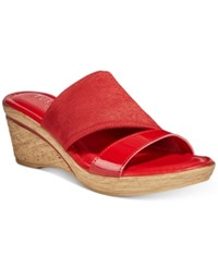 Easy Street Shoes Tuscany By Adagio Wedge Sandals Women's Red Patent