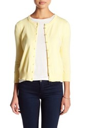 Cable And Gauge Crew Cardigan Petite Yellow