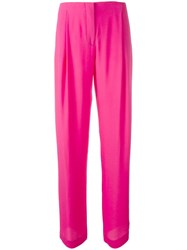 Cedric Charlier Straight Tailored Trousers Pink Purple