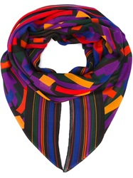 Balmain Abstract Print Scarf Pink And Purple