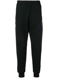Alexander Mcqueen Logo Embroidered Track Trousers Black