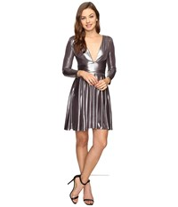 Halston Long Sleeve V Neck Draped Waist Metallic Jersey Dress Gunmetal Women's Dress Gray