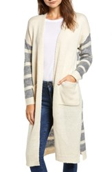 Dreamers By Debut Stripe Knit Cardigan Oatmeal Charcoal