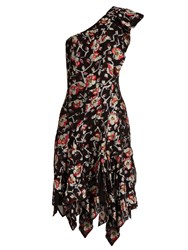 Isabel Marant Parlam Silk Blend Floral Fil Coupe Dress Black Print