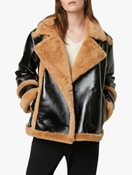 French Connection Filpa Faux Shearling Double Breasted Coat Black