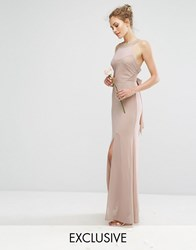 Tfnc Wedding Chiffon Maxi Dress With Tonal Embellishment And Tie Detail Brown